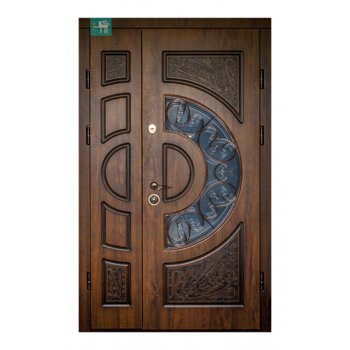 Двери ПВ-191 полуторные ковка Дуб темный Vinorit (Патина) Министерство дверей