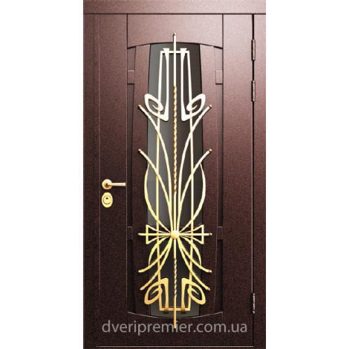 Двери коттеджные Арфа Нова с ковкой Премьер