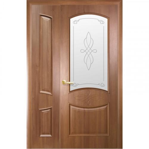 Двери двустворчатые Донна 2 со стеклом сатин и рисунком