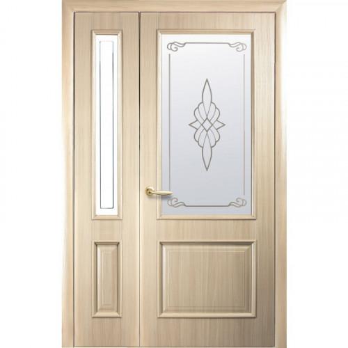 Двери двустворчатые Вилла Р1 со стеклом сатин и рисунком