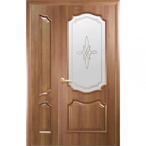 Двери двустворчатые Рока 2 со стеклом сатин и рисунком