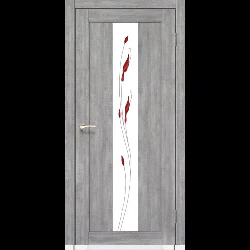 Двери PORTO - 10 стекло сатин и рисунком М1 KORFAD