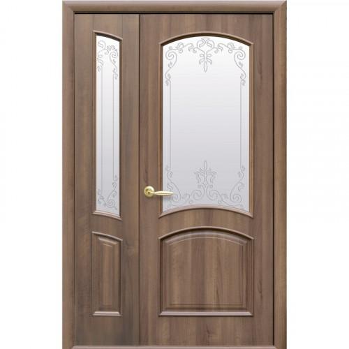 Двери двустворчатые Антре Р3 со стеклом сатин и рисунком