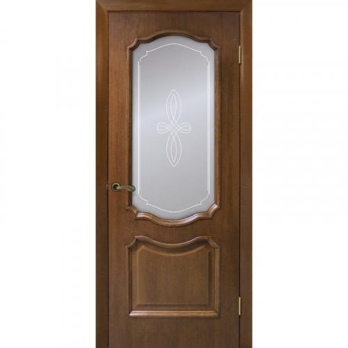 Двери Кармен орех со стеклом Омис