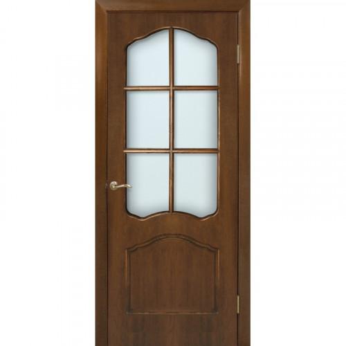 Двери Каролина орех со стеклом Омис