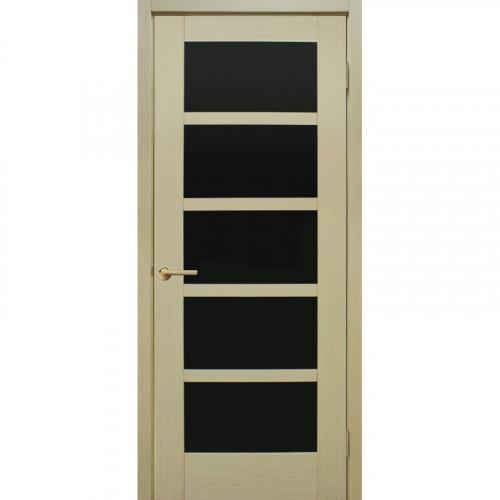 Двери Вена FL дуб беленный черное стекло Омис