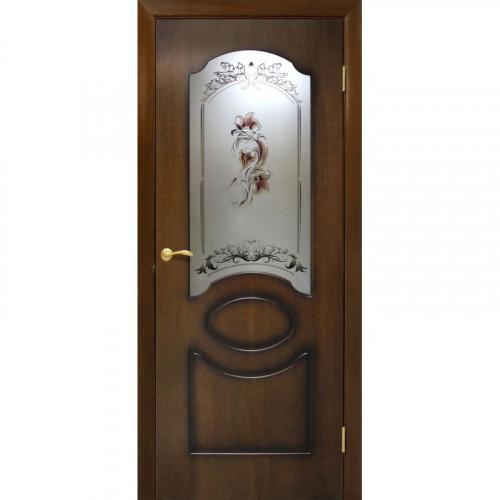 Двери Виктория лесной орех со стеклом Омис