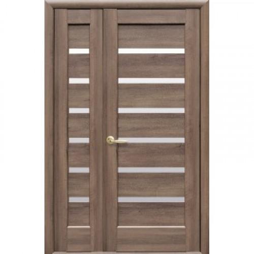 Двери двустворчатые Линнея со стеклом сатин