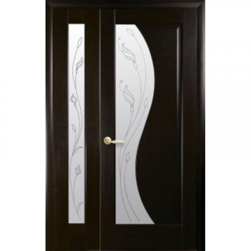Двери двустворчатые Эскада+Рада со стеклом сатин